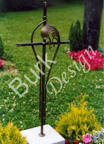 Grabkreuz aus Bronze geschmiedet, florale Form, NR. 11