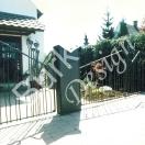 Tor mit Briefkasten und Zaunteil aus Eisen geschmieder, Oberfläche mit Farbe beschichtet